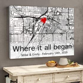 Personalized Couple Gifts - The First Meeting Street Map Couple Canvas Customized Anniversary Gifts - Gst