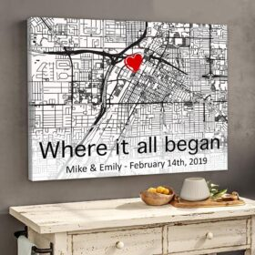 Personalized Gift For Him For Her The First Meeting Street Map Canvas Where It All Began